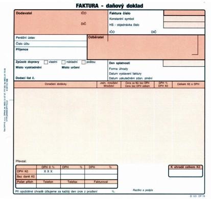 Faktura Daňový Doklad Op1074